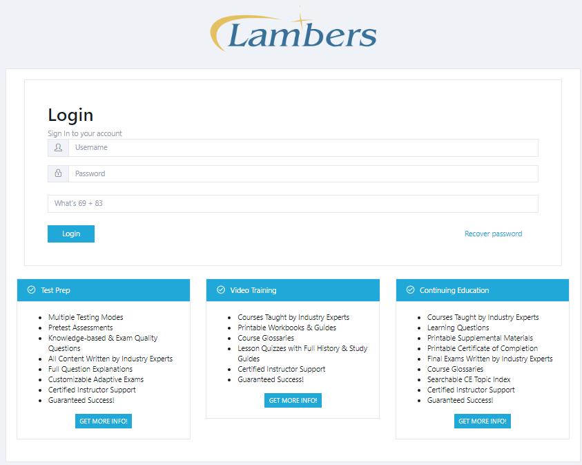 Lambers Test Prep